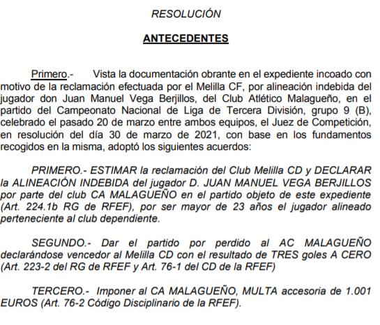 Atlético Malagueño, la Federación declara alineación indebida por Villegas