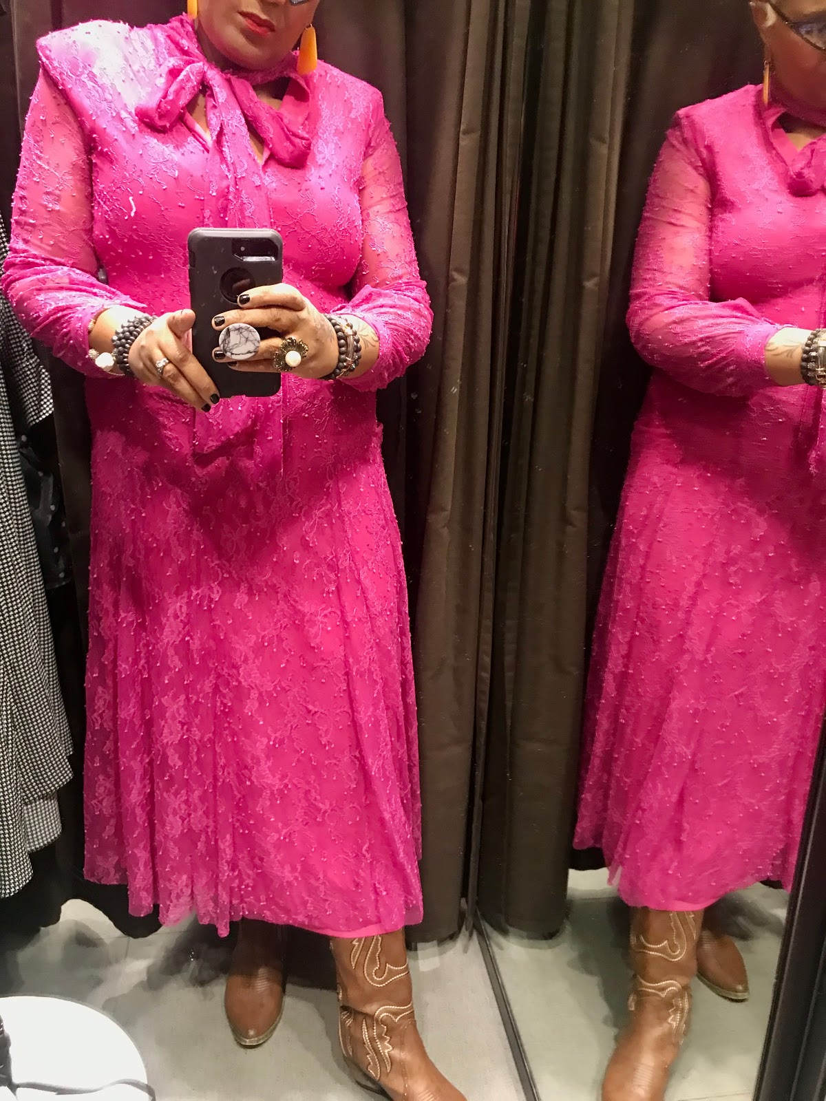 Pink dress try on at Zara store in Dallas texas