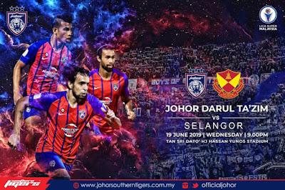Live JDT vs Selangor Liga Super 19.6.2019