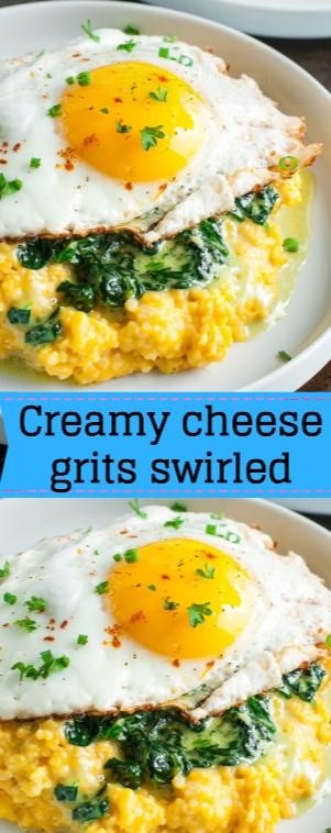Creamy Cheese Grits Swirled
