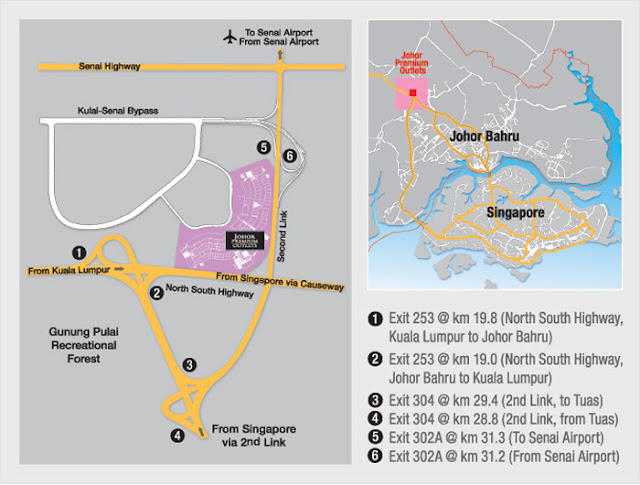 Map to Johor Premium Outlets