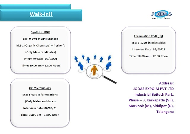 Jodas Expoim   Walk-in interview for R&D/QC on 5&6th Mar 2021