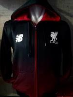 Jaket Hoodie Liverpool Hitam Gradasi Merah Terbaru