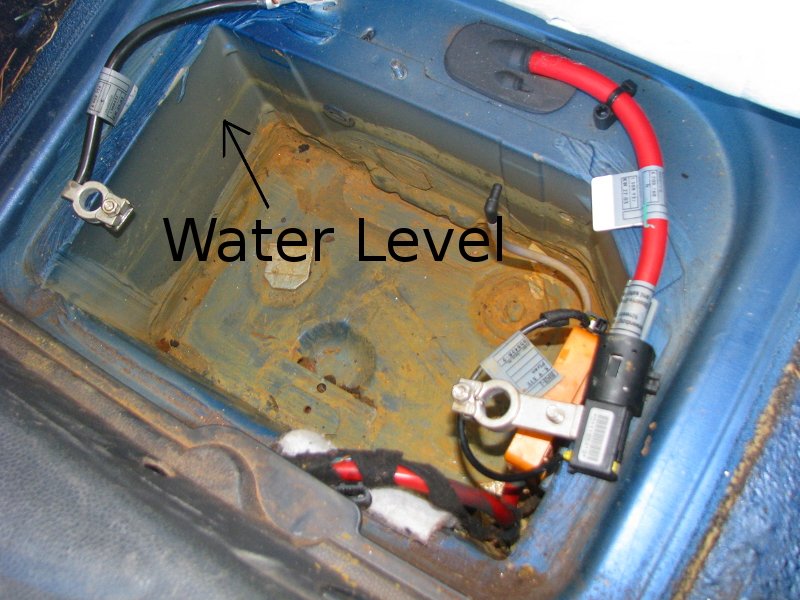 Battery Compartment Half Filled With Water