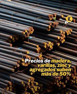 Precios de madera, varillas, zinc y agregados suben más de 50%