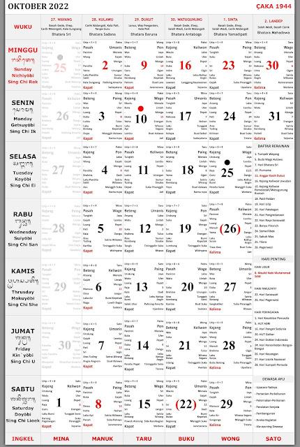 Kalender Bali Oktober 2022 Lengkap Format PDF dan JPEG