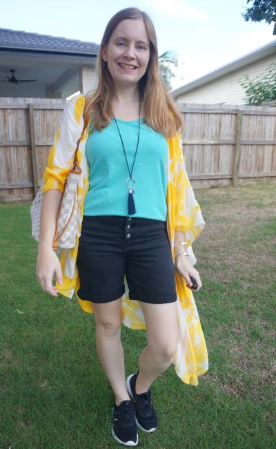 yellow printed kimono with turquoise tank black shorts LV neverfull | awayfromtheblue
