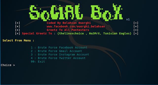 SocialBox Herramienta para hacer ataques de Fuerza bruta a redes sociales.