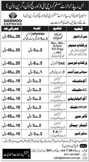 Daewoo Express Bus Rapid Transit Orange Line, Green Line Karachi City Jobs 2021 Multiple Vacancies