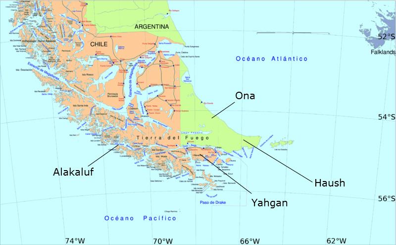 Mappa della distribuzione dei fuegini: popolazioni indigene della Terra del Fuoco