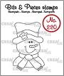 Clearstempel van een sneeuwpop met das en hoed. Clearstamp of a snowman with tie and hat.