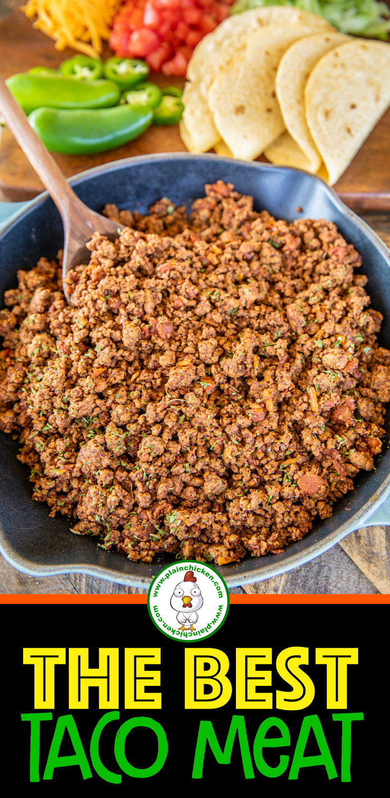 taco meat in a skillet