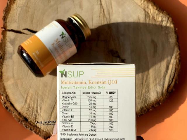 nsup multivitamin koenzim Q10 içeren takviye edici gıda içerik