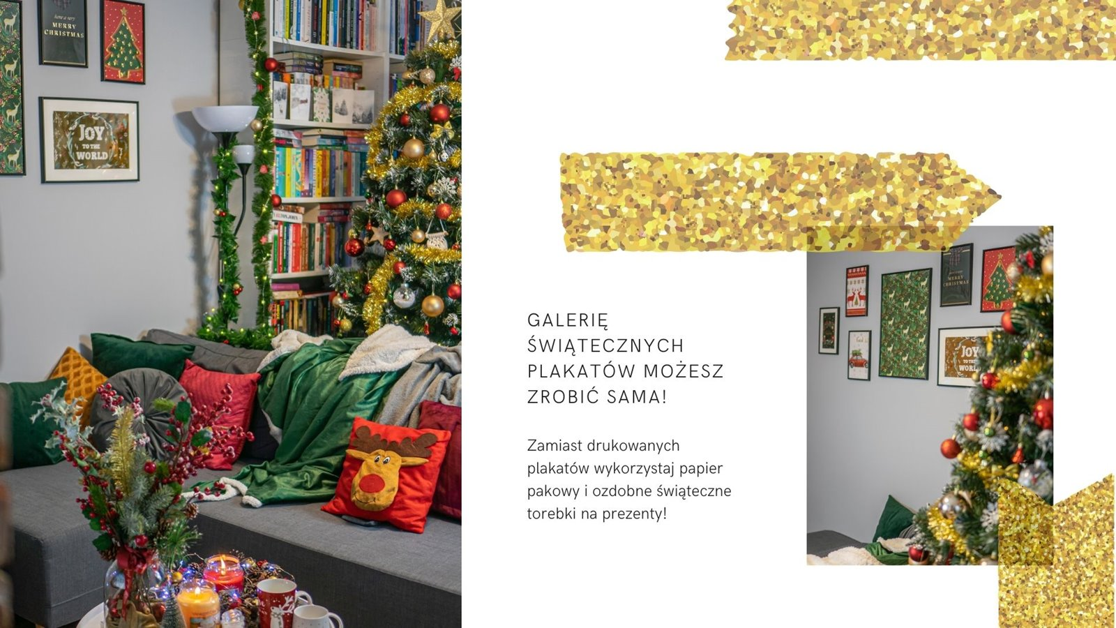 8 christmas posters gallery diy livingroom ideas christmastree inspiration ideas red gold czerwony złoty butelkowa zieleń dodatki