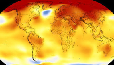 Global Warming: Thermal image of world