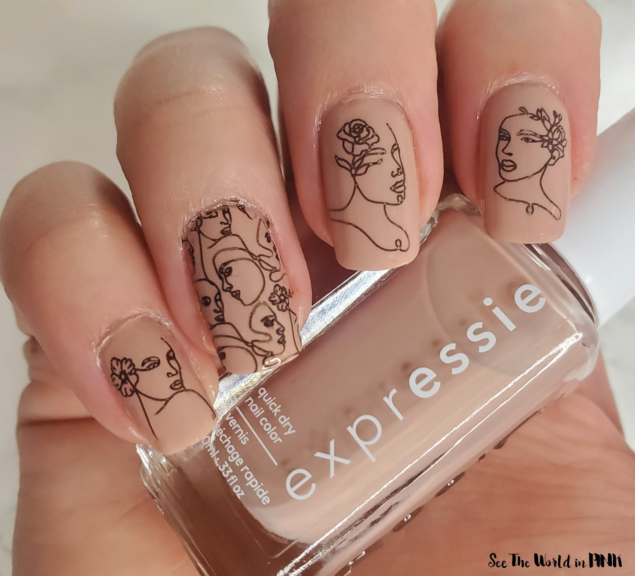 Manicure Monday - Woman Line Art Nails