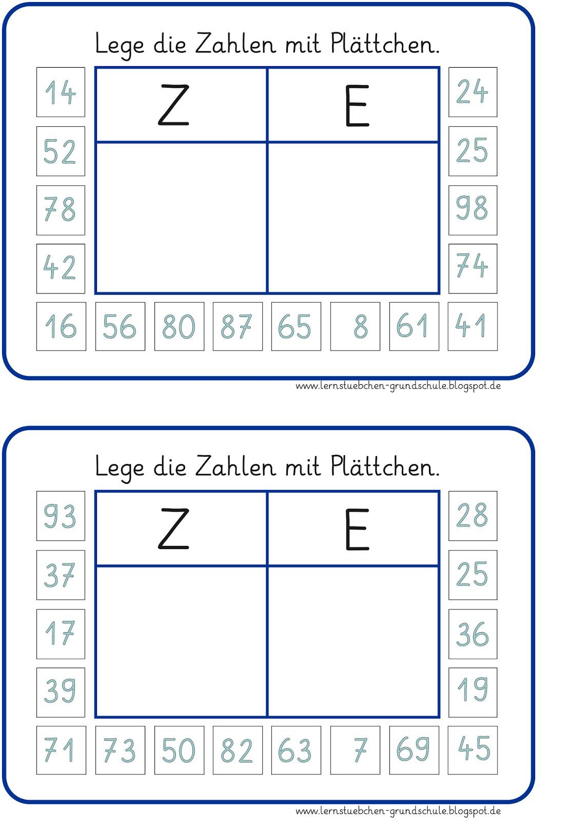 Enchanting Math Zehner Und Einer Tabelle Der Ersten Klasse ...