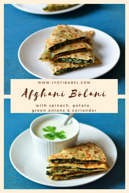 Afghani Bolani | How to make Afghani Bolani with Potato, Spinach, Green Onions and Coriander Filling.