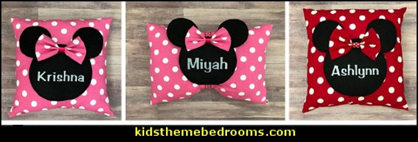 Minnie Mouse  Polka Dots Pillow red white Minnie Mouse  Polka Dots pink white