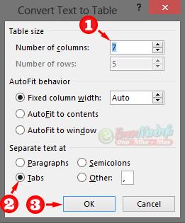 Pengaturan konversi tabel menggunakan karakter tabs