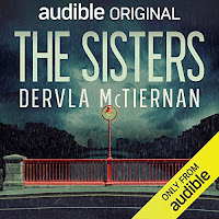 The Sisters audiobook cover. The view from a red bridge on a moody evening.