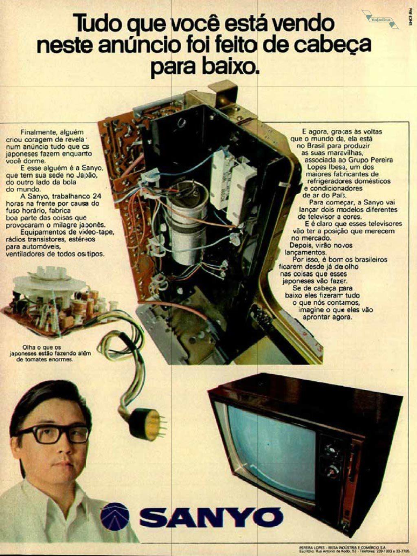 Propaganda antiga da Sanyo promovendo seu televisor a cores nos anos 70