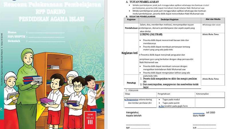 RPP Daring Satu Lembar Mapel PAI Kelas 3 SD Kurikulum 2013
