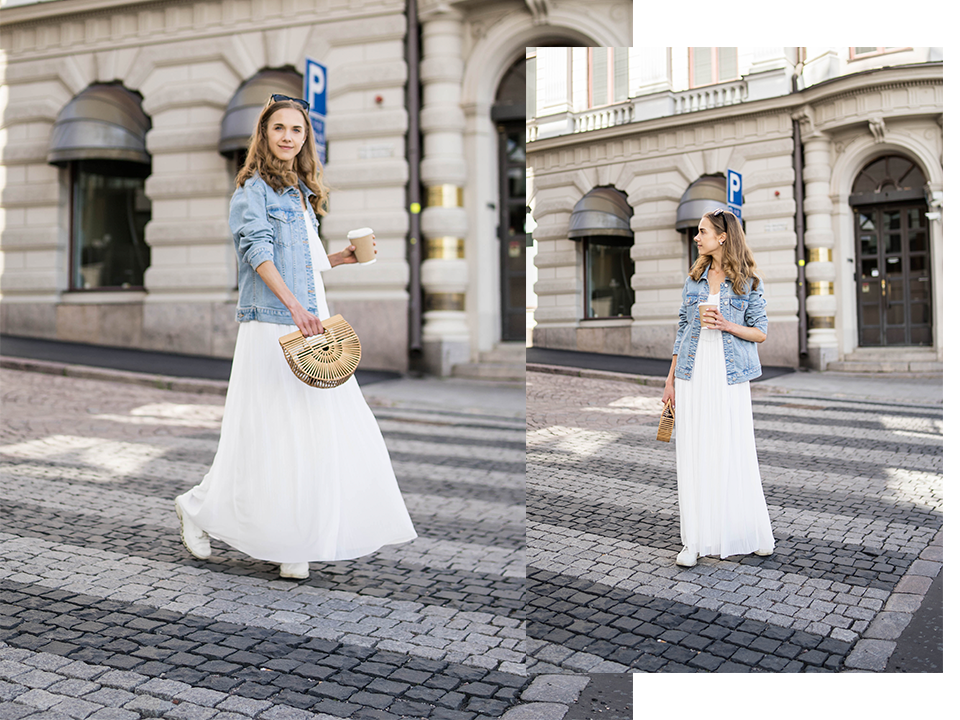 White maxi dress, denim jacket and Cult Gaia Ark Mini - Valkoinen maksimekko, farkkutakki ja Cult Gaia Ark Mini