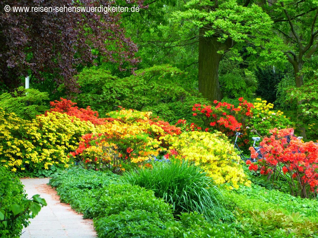 Planten un Blomen - Schönster Park in Hamburg, Fahrrad in bunten Blumen