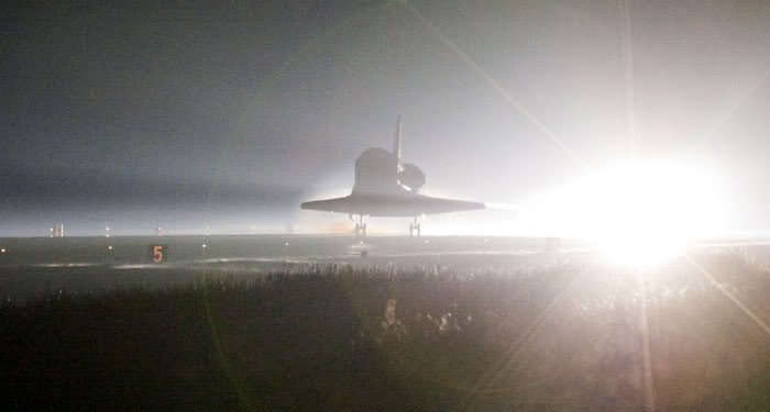 Space shuttle Atlantis lands at NASA's Kennedy Space Center (KSC) in Florida for the final time, on July 21, 2011.