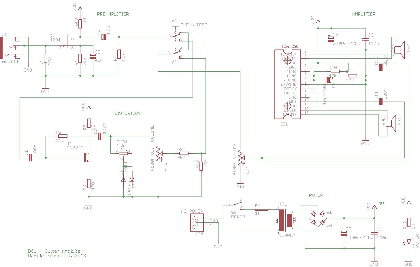 Davide Gironi: D01: 2*15W guitar amplifier built using