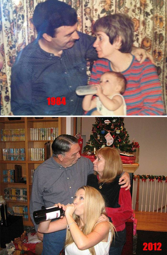 """Christmas 1984 and Christmas 2012. The only thing that has changed is the contents of the bottle."""