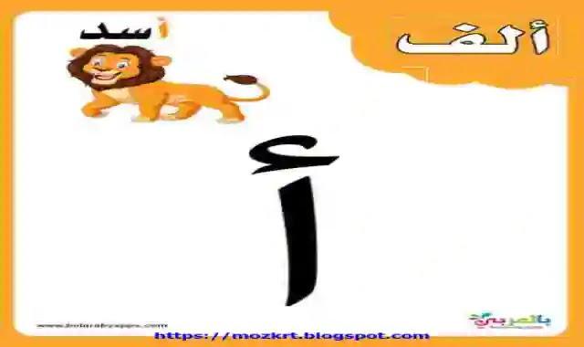 بطاقات الحروف الابجدية العربية لمرحلة كى جى