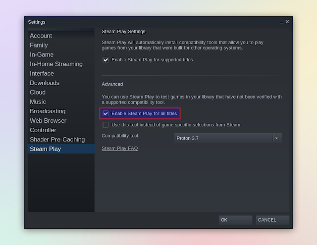 Steam enable steam play for all titles