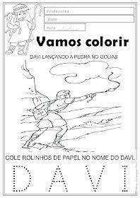 Desenho de Davi atirando a pedra com a funda no Golias.