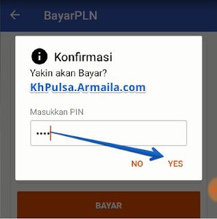 Lakukan konfirmasi untuk pembayaran dengan memasukkan PIN