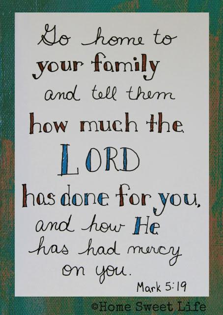 Mark 5:19, Scripture Writing