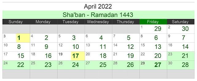 Kalender Hijriah Bulan April 2022 Lengkap Jadwal Puasa
