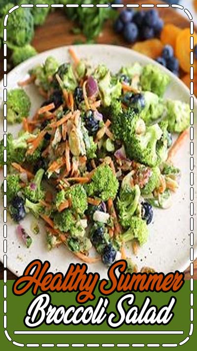 Delicious, healthy broccoli salad recipe made with simple ingredients like fresh blueberries, carrots, sweet dried apricots, almonds and sunflower seeds. This easy, dairy free broccoli salad has no mayo, is tossed in a light tahini dressing, and is perfect for summer parties or meal prep! #mealprep #broccoli #broccolisalad #saladrecipe #vegetarian #vegan #veganrecipe #healthysalad