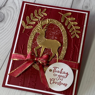 Cherry Cobbler & Gold Foil Deer Christmas Card using wishes & wonder Bundle