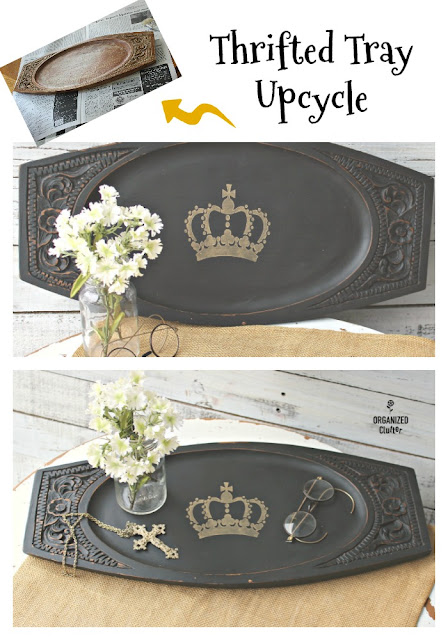 Regal Upcycle  For A Thrift Shop Serving Tray #thriftshopmakeover #dixiebellepaint #caviar #stencil #crown #servingtray #upcycle
