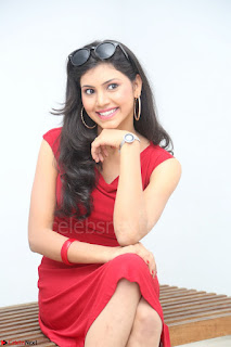 Mounika Telugu Actress in Red Sleeveless Dress Black Boots Spicy Pics 045.JPG
