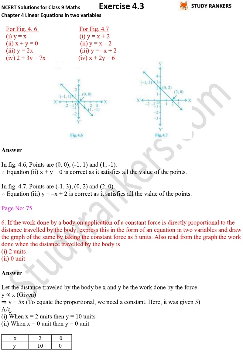 NCERT Solutions for Class 9 Maths Chapter 4 Linear Equations in Two Variables Exercise 4.3 Part 5