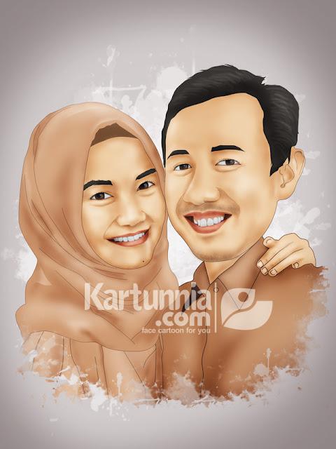Karikatur couple romantis