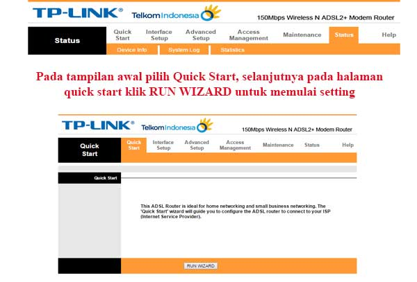Tampilan Halaman Modem Speedy TP-LINK