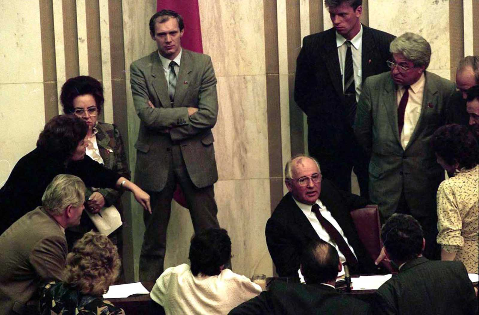 President Mikhail Gorbachev, in the Soviet Parliament right after his return from being under house arrest during the August, 1991 coup.