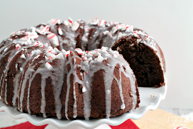 Inspired by a favorite holiday coffee drink, this chocolaty & moist Peppermint Mocha Bundt Cake is sure to be a crowd-pleaser this holiday season.