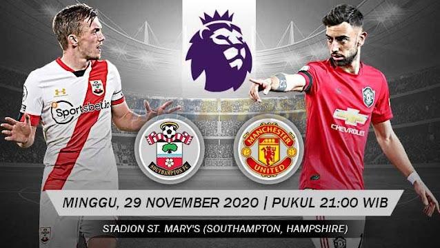 Prediksi Southampton Vs Manchester United, Minggu 29 November 2020 Pukul 21.00 WIB @ Mola TV