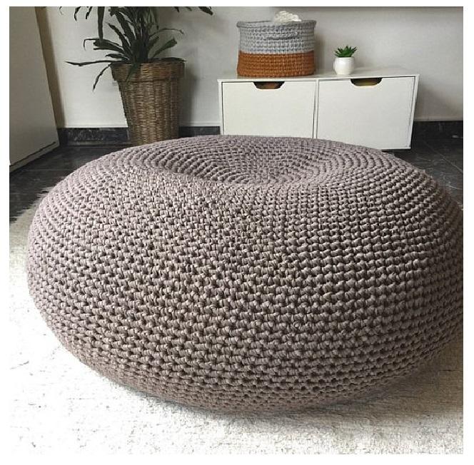 floor pouf Straw pouf Pouf ottoman coffe table bean bag lounge sofa with brown style