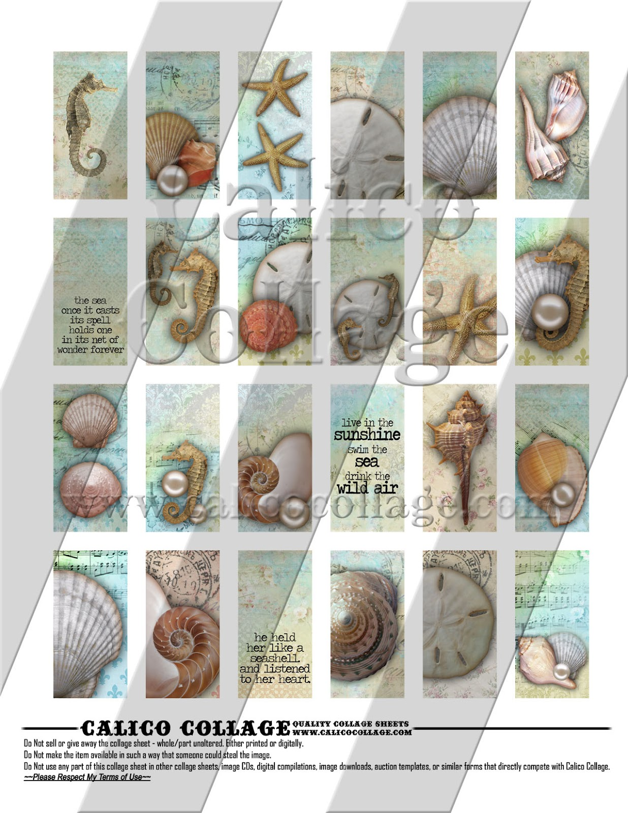 Calico Collage High Quality Digital Collage Sheets Sea